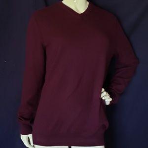 VINCE wine red 100% cashmere v neck sweater